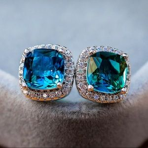 Gold Plated Green Blue CZ Stud Earrings
